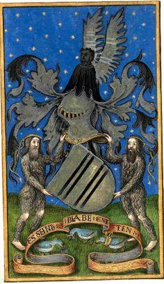 Armes de Johann von Morssheim [Morsheim] (f°138r) -- «Histoire généalogique des Rois de France, depuis les origines jusqu'à Louis XII» [1501], traduite du français par Johann von Morssheim et dédiée au roi de France [BNF Ms Allemand 84 - ark:/12148/btv1b52000978v]