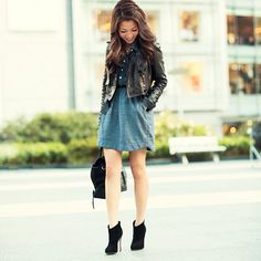 Chambray dress & suede details