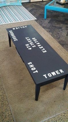Up-cycled Dubuque landmarks coffee table