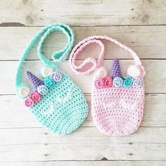 Crochet Unicorn Purse Girl's Accessory Toddler Child Handmade