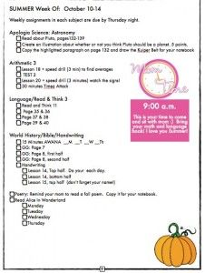 Example Homeschool Weekly Schedule  Daily Checklist Unit Studies
