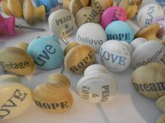 Love the word idea on these. Drawer Knobs, Door Knobs, Decoupage, Cheap Cabinets, Shabby Chic, Woodworking Basics, Knobs And Pulls, Painting Patterns, Shopping Hacks