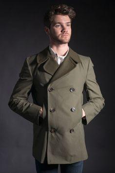 Olive Waxed Cotton Pea Coat
