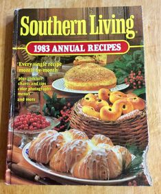 Vintage Cookbook, Southern Living 1983 Annual Recipes, Vintage Kitchen, Recipe Collection, Hardcover Cookbook  Southern Living Annual Cookbooks includes recipes for a variety of main dishes, desserts, vegetables, appetizers, drinks, and side dishes. In good condition except bottom right corner of cover looks like someone took a bite out of it, but spine is good and pages are in great shape. This 8 ½ x 11 inch hardback book features time tested recipes month by month, plus indexes, charts…