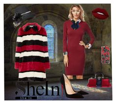 """""""Who says you can not look good in church  Shein: Red Dress"""" by bluehatter ❤ liked on Polyvore featuring Overland Sheepskin Co., Alice + Olivia, Roberta Di Camerino, Casetify, Dolce&Gabbana, Christian Louboutin and Lime Crime"""
