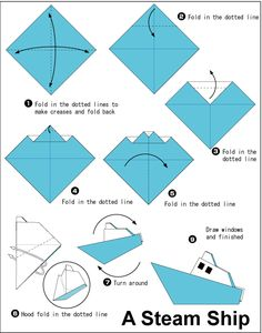 How to make an origami steam ship