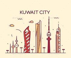 Kuwait City Skyline Silhouette Vector Linear Style by gropgrop Kuwait city skyline detailed silhouette Trendy vector illustration linear style