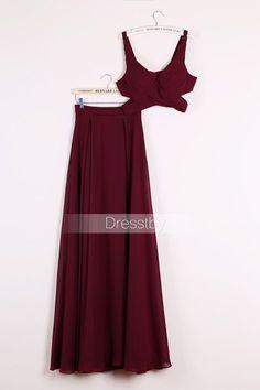 Burgundy two pieces chiffon long prom dress c414ea0a1e11