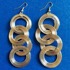 SILVER TONE Dangle Hook Earrings Chandelier Hoop Circles Women Fashion Jewelry #Unbranded #Chandelier