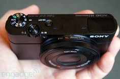 Sony Cyber-shot DSC-RX100   Good photos small camera.  boosts image quality with 1-inch sensor, f/1.8 Carl Zeiss Vario-Sonnar T* lens (hands-on video)