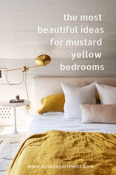 Sophisticaded bedroom ideas with mustard yellow bedding Nina's Apartment Mustard And Grey Bedroom, Yellow Master Bedroom, Mustard Yellow Bedrooms, Mustard Yellow Decor, Mustard Bedding, Yellow Bedding, Bedroom Green, Bedroom Office, Cheap Bed Sheets