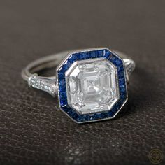 An Amazing Vintage Diamond and Sapphire Engagement Ring.  #Vintage #Engagement #Ring