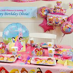 Create an enchanted afternoon by transforming your party room with princess-worthy Disney Princess birthday party decorating ideas.