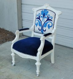 This Victorian Eastlake style arm chair is very old, and has a few issues, but is gorgeous refinished. The finish was in very poor condition, and