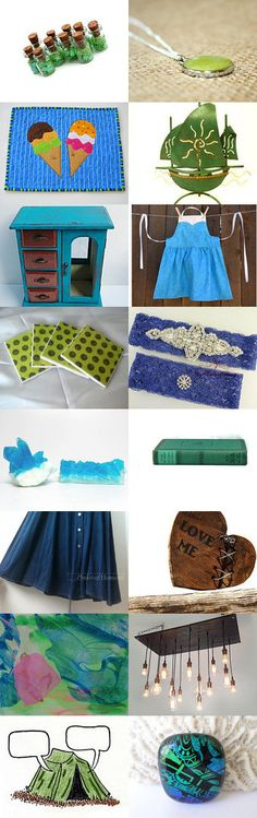 Summer finds by Amie Bair on Etsy--Pinned with TreasuryPin.com #blue #teal #green #summergifts #augusttrends #homedecor #jewelry #sailboat #soap