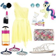 "My Little Pony - Bon Bon Outfit - 2Daybit  Hasbro – My Little Pony TopShop – One shoulder chiffon dress by Kate Moss Prada – Candy (1.7 pz Eau de Parfum Spray) Nomination – ""My BonBons Collection"" Bracelet Miluna – ""La gemma preziosa"" Collection Earrings Chanel – Classic Flap Bag Pastiglie Leone – Caramelle Liberty Assortite Mac – 'Candy Yum Yum' Lipstick Shiseido – Shimmering Cream Eye – Color: Nightfall René Caovilla – White crystal flat sandal"