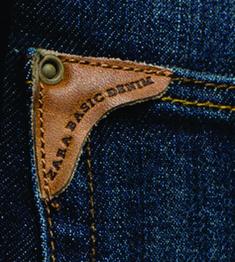 etiqueta de bolsillo zara basic denim.