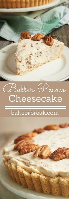 If butter pecan is your favorite ice cream, then this Butter Pecan Cheesecake may very well be your favorite cheesecake! It's filled with buttery, toasty pecans in a no-bake cheesecake filling, and it's absolutely fantastic! - Bake or Break Cheesecake Tradicional, Just Desserts, Dessert Recipes, Pecan Desserts, Pecan Recipes, Cheesecake Desserts, Churro Cheesecake, Pecan Pies, Holiday Desserts