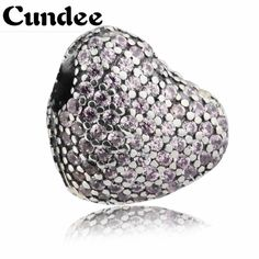 2017 Valentine's Day Pave Open My Heart Pink CZ Charm 925 Sterling Silver Heart Clip Beads Jewelry fits Pandora Bracelet Women. #Affiliate