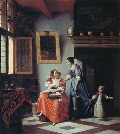 Pieter de Hooch, c. 1668-72 - - - Woman Giving a Coin to a Maid