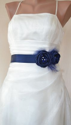Handcraft Navy Blue Two Flowers With Feathers by elitewomen, $39.50