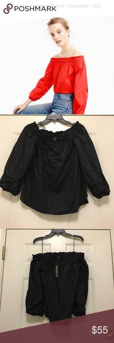 Long-sleeve off-the-shoulder top Brand new with tags size 4.  black Off the shoulder top.  Cotton. Machine wash. Item G2654. J. Crew Tops