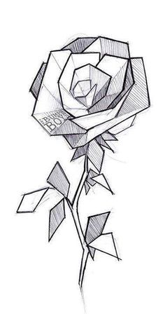 50 Ideas for geometric art projects ideas Cool Art Drawings, Pencil Art Drawings, Art Drawings Sketches, Drawing Art, Tattoo Sketches, Easy Drawings Of Flowers, Tattoo Drawings Tumblr, Easy 3d Drawing, Crazy Drawings