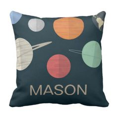 Navy Blue Boys Room Space Planets Personalized Throw Pillow Boys Room Pillows   Pretty Throw Pillows On sale now with code: ZAZZSWAGSALE