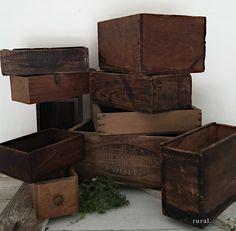 vintage wooden crates, black discrete stenciling against a dark stain  ♥