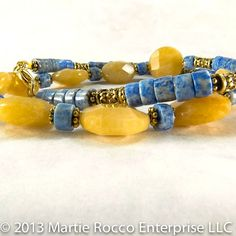 Yellow Jade and Denim Lapis necklace with gold accents 308N   MartieRocco - Jewelry on ArtFire