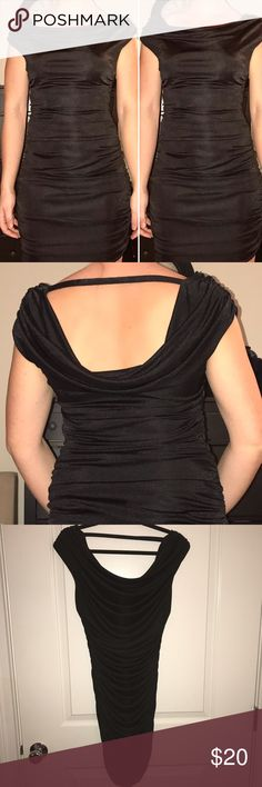 EXPRESS RUCHED DOUBLE DRAPE NECK DRESS - Medium Great dress flattering on everyone! Only worn once to a winter office party. Like new! Black dress size medium, bought from Express. Stretchy and the ruching helps hide trouble areas. Cute off the shoulder front and drape back detail! Express Dresses Mini