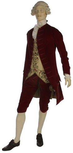 """1770-1780  ca. 1772 (made) """"Compared to the florid Rococo style of the 1750s, the embroidery on the waistcoat is becoming more abstract and is restricted to a smaller area of the garment."""""""