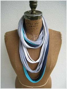 Multicolor T Shirt Necklace / Long Short Choker / by ohzie on Etsy