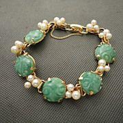 Vintage Ming's of Honolulu Jade and Cultured Pearl Bracelet 14K