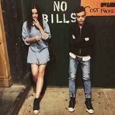 Rami Malek and Stephanie Corneliussen, behind the scenes on Mr. Robot.
