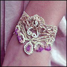 DIY Beaded Gold Lace Bracelet