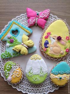 Купить Пасхальный набор №1 - разноцветный, пряники, пряничный сувенир, козули, Пасха, пасхальный сувенир: