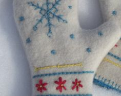 Hand Embroidered Snowflake Design Felted Wool by ThatsSewTimeless Christmas Sewing, Christmas Embroidery, Yarn Crafts, Felt Crafts, Old Sweater Crafts, Wool Felt, Felted Wool, Sweater Mittens, Art Populaire