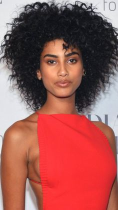 Imaan Hammam attends the Annual Diamond Ball hosted by Rihanna and The Clara Lionel Foundation in New York City. Medium Hair Styles, Curly Hair Styles, Natural Hair Styles, Updo Curly, Boy Hairstyles, Party Hairstyles, Funky Dresses, Beautiful Black Girl, Dark Skin Girls