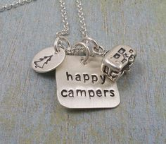Hand Stamped Charm Necklace -  Sterling Silver Charm Necklace - HAPPY CAMPERS on Etsy, $49.00
