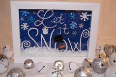 - White 5 x 7 wooden shadow box filled with faux snow - Foam and rhinestone…