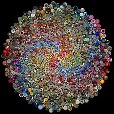 Fibonacci sequence mosaic done with lots and lots of buttons. Gorgeous. Collaborative Poster 2: Phyllotaxis by krazydad / jbum, via Flickr