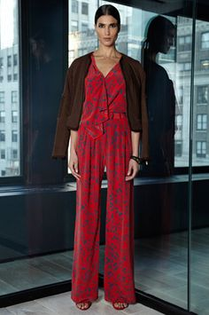 Look 13 Flame Geo Batik Print Crepe De Chine Draped Shell Flame Geo Batik Print Crepe De Chine Wide Leg Trouser Tobacco Summer Quilting Cropped Cotton Jacket Osana Black/White Snake and Red Suede Ankle Strap Sandal Leather Covered Snake Cuff