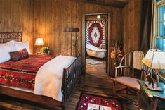 Western rustic cabin bedroom and bathroom.