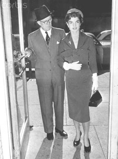 Joseph P. Kennedy With Daughter-In-Law Original caption: 10/22/54-New York: Joseph P. Kennedy, former ambassador to England and father of Senator John Kennedy, is shown with his daughter-in-law, Jacqueline Kennedy, wife of the Senator as they arrived at the Hospital for Special Surgery today where the Senator is recovering after undergoing surgery for a back injury sustained during the war.❤❁❤❁❤  http://en.wikipedia.org/wiki/Joseph_P._Kennedy,_Sr.