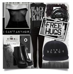 """""""I Can't Take It Anymore!"""" by isabeldizova ❤ liked on Polyvore featuring Viktor & Rolf, Benetton, T By Alexander Wang, Luckies, Hogan, Urbanears, CASSETTE, black, emo and blackandwhite"""