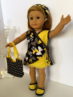 "BlackandYellow print ""It's a Wrap Dress"" by DollCLOTHEStique on Etsy. Find the It's a Wrap Dress pattern at http://www.pixiefaire.com/products/its-a-wrap-dress-18-doll-clothes"