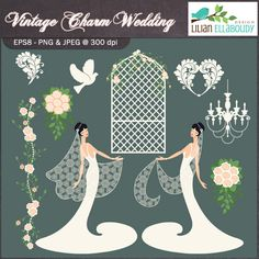 Elegant set of wedding graphics in raster and vector format, great for wedding stationary, invites, menus, party decorations, gift boxes and more. These graphics will look great either as single element or combined with other element/s of the set. All original illustrations by Lil Ellaboudy Design.