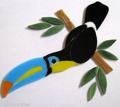 Tropical Parrot Bird precut stained glass mosaic art kit. Many original designs available on ebay.