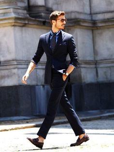 Slim fit blue suit, via MenStyle1 - Click image to find more Men's Fashion Pinterest pins